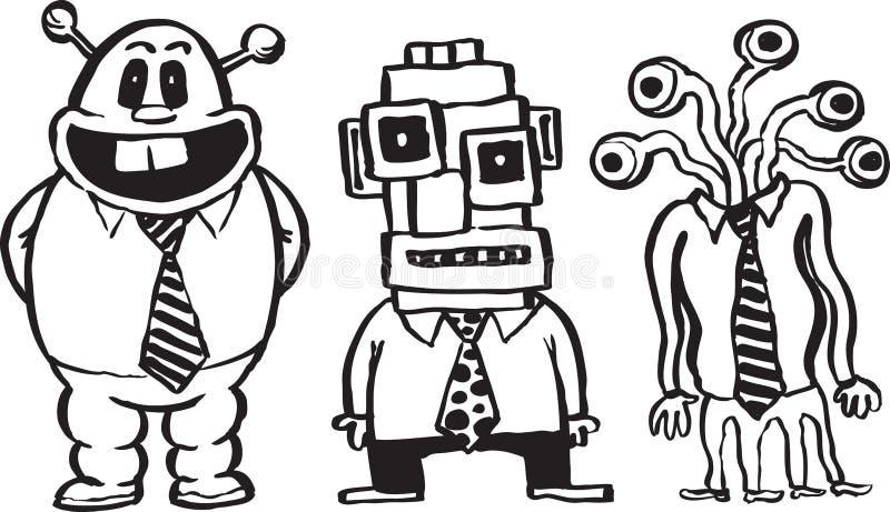 Whiteboard rysunek - karykatura biznesmeni ilustracja wektor