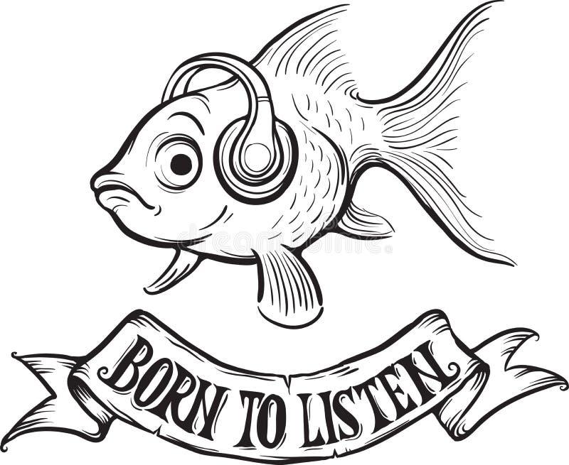 Whiteboard rysunek - urodzony słuchać goldfish ilustracja wektor