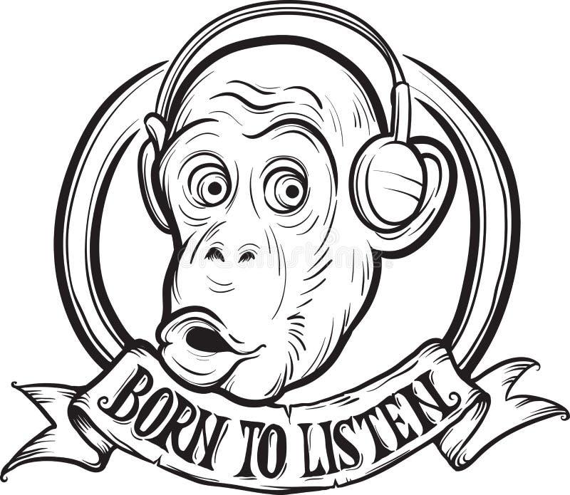Whiteboard rysunek - urodzony słuchać szympansa ilustracja wektor