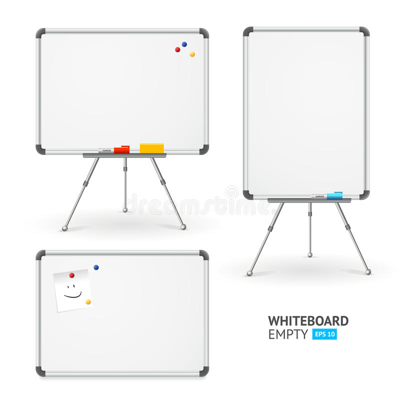 Whiteboard Set. Different View. Vector. Whiteboard Set for Classroom and Office. Different View. Vector illustration stock illustration