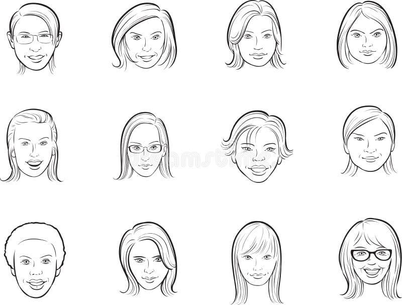 Whiteboard teckning - framsidor för tecknad filmavatarkvinnor stock illustrationer