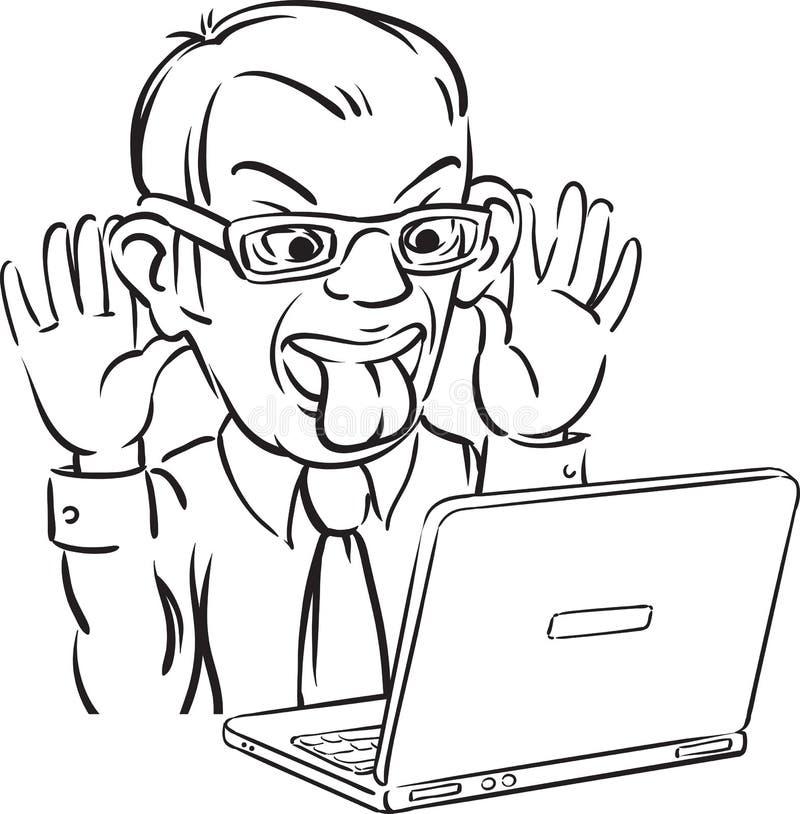Whiteboard teckning - grimacing man med bärbar datordatoren royaltyfri illustrationer