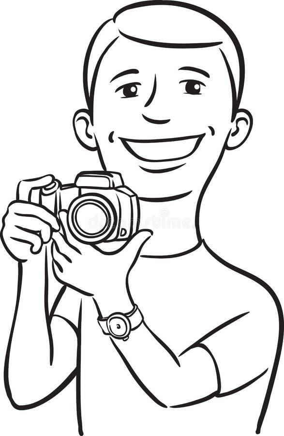 Whiteboard teckning - le fotografen stock illustrationer