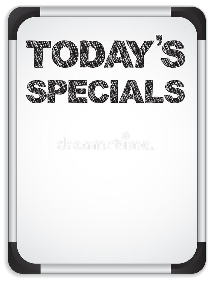 Whiteboard with Today's Specials Message royalty free illustration