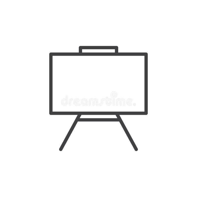 Whiteboard wykłada ikonę, konturu wektoru znak, liniowy stylowy piktogram odizolowywający na bielu ilustracja wektor