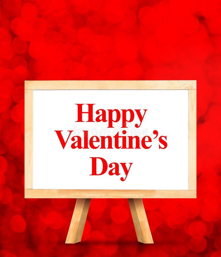 Whiteboard z Szczęśliwym walentynka dnia słowem przy czerwonym bokeh ilustracji