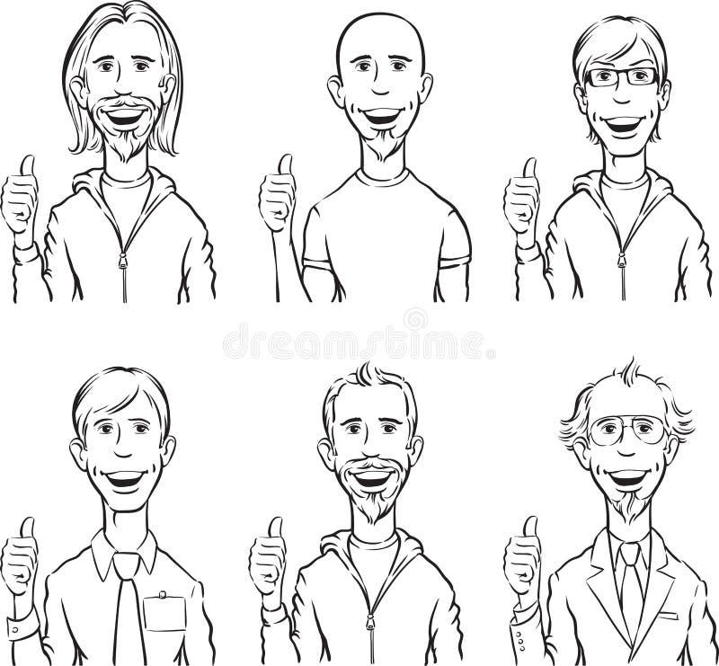 Whiteboard-Zeichnung - Männer, die sich Daumen zeigen lizenzfreie abbildung