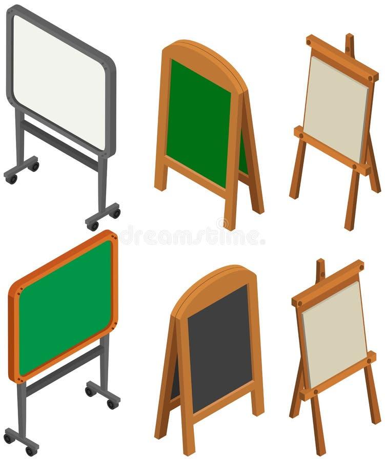 Whiteboards en borden in 3D ontwerp stock illustratie