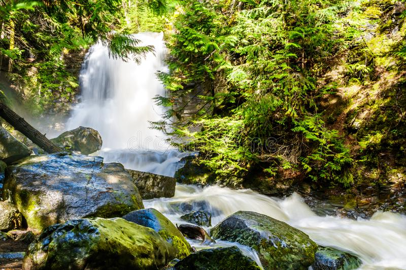 Whitecroft Falls, a waterfall on McGillivray Creek and a short hike from Sun Peaks Road near the town of Whitecroft. In the Shuswap region of the Okanagen in royalty free stock photos