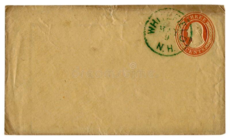Whitefield, Нью-Гэмпшир, США - 9-ое мая 1856: Конверт США исторический: предусматрива с красной выбитой отпечатанной печатью, 3 ц стоковые фото