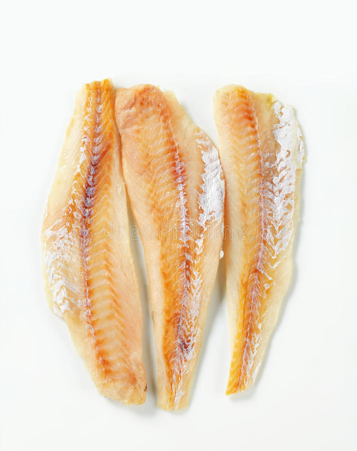 Whitefish fillets. Studio shot of whitefish fillets royalty free stock photography