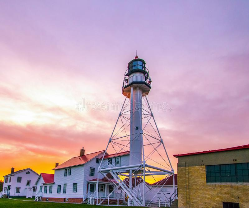 Whitefish Point Lighthouse In Michigan. Lighthouse Sunset. Beautiful sunset at the Whitefish Point Lighthouse on the coast of Lake Superior in the Upper royalty free stock photography