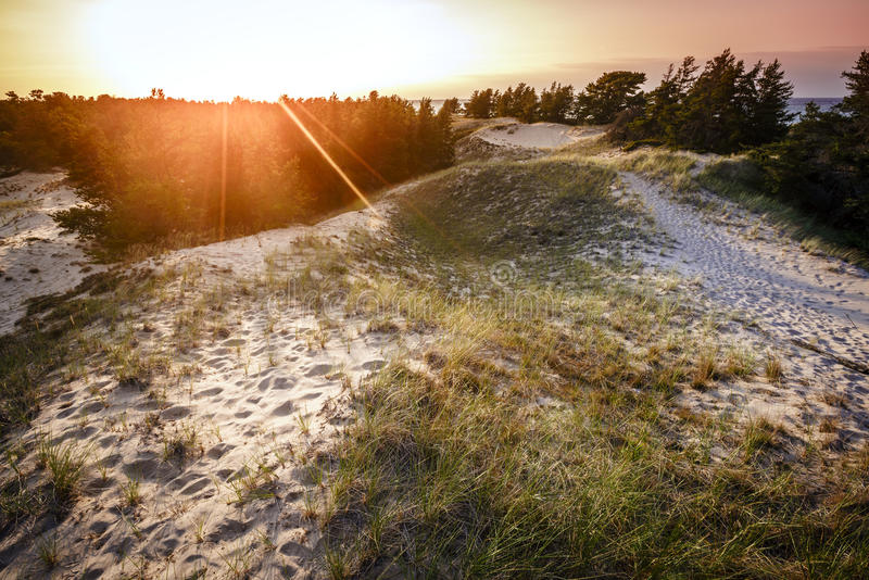 Whitefish Point, Michigan. Sand dunes by the beach on Lake Superior in Whitefish Point, Michigan at sunset3 royalty free stock photos