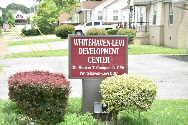 Whitehaven-Levi Development Center Sign, Memphis, TN. The Whitehaven-Levi Development Center is a strategy development and employee performance improvement stock images