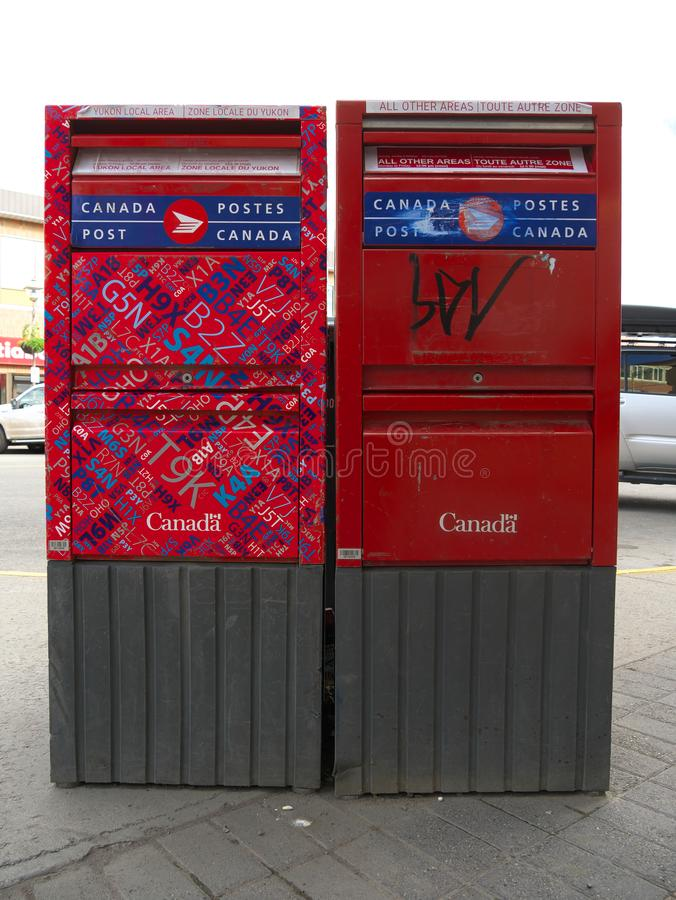 Post boxes at Main Street in Whitehorse, Canada. Whitehorse,Canada-September 11, 2018: Post boxes at Main Street in Whitehorse, Canada royalty free stock photo