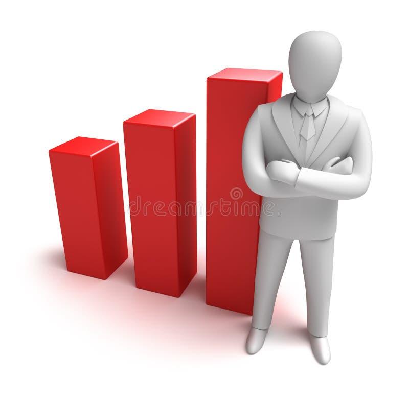 Whiteman e grafico aumentante illustrazione di stock
