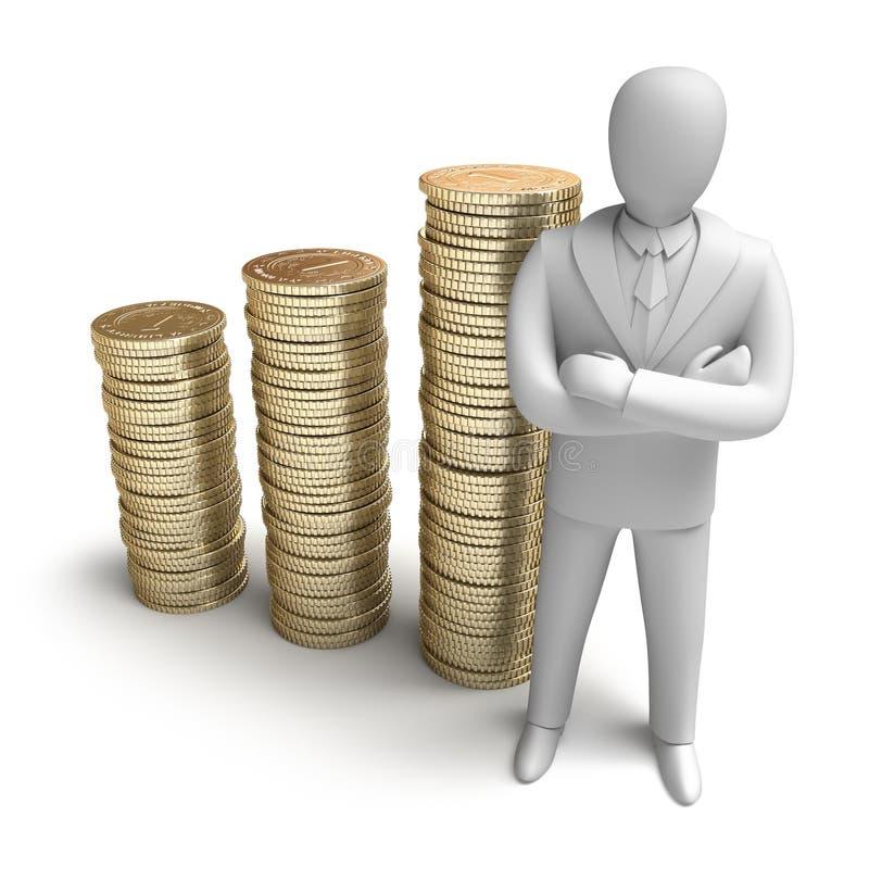 Whiteman e grafico aumentante dei soldi illustrazione vettoriale