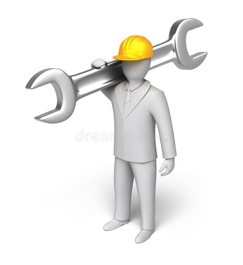 Whiteman listo para trabajar, hombre 3D con la llave inglesa stock de ilustración