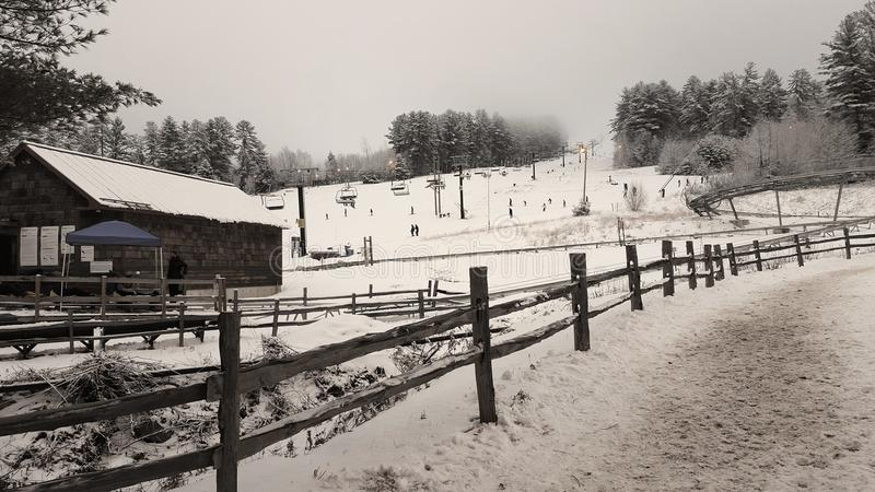 Whitemountain with ski slopes during winter and snow in Boston royalty free stock images