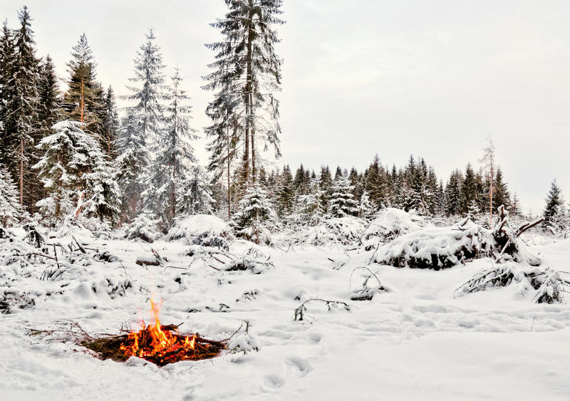 Whiteness and fire. Winter stock photos