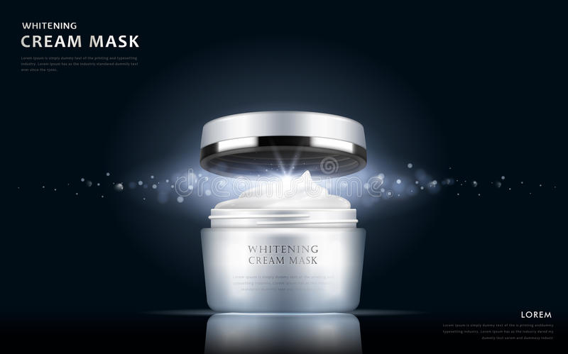 Whitening cream mask container vector illustration
