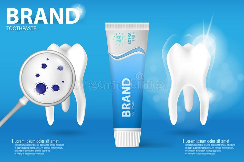 Whitening toothpaste ad. Realistic clean and dirty tooth on blue background, clearing tooth process with aroma of mint. Toothpaste, and toothpaste protection vector illustration