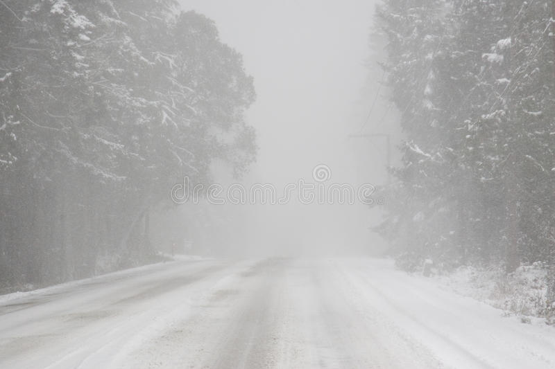 Whiteout driving conditions. Winter snow causing whiteout and limited visibility driving conditions on the highway stock photo