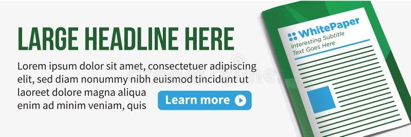 Whitepaper of Ebook CTA met Dekking en Downloadknoop voor Vrije Digitale Download - Vraag naar Marketing Actie stock illustratie