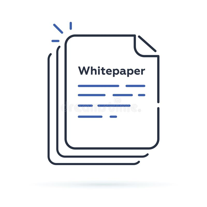 Whitepaper icon, ICO main investment document, company strategy, brief, development product plan. royalty free illustration