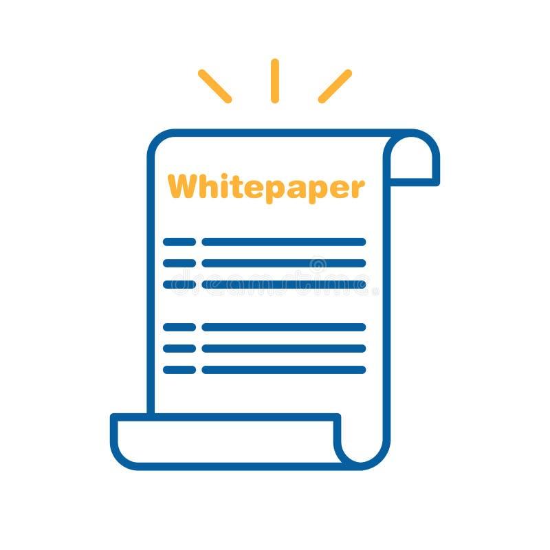 Whitepaper-Ikone Dünnes Zeilendarstellungsdesign des Vektors Ico-Investition, Startunternehmensprodukteinführungsstrategie stock abbildung