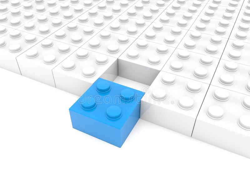 Whites toy blocks with blue block in the foreground vector illustration