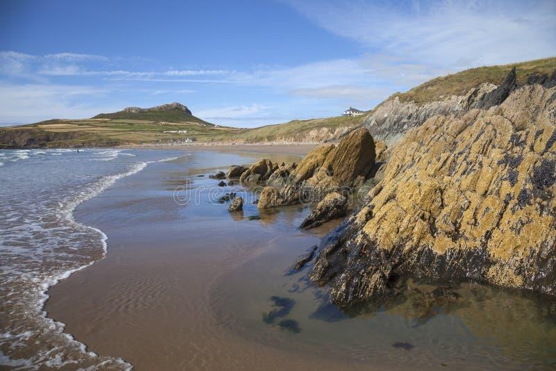Whitesandsbaai, Pembrokeshire stock foto