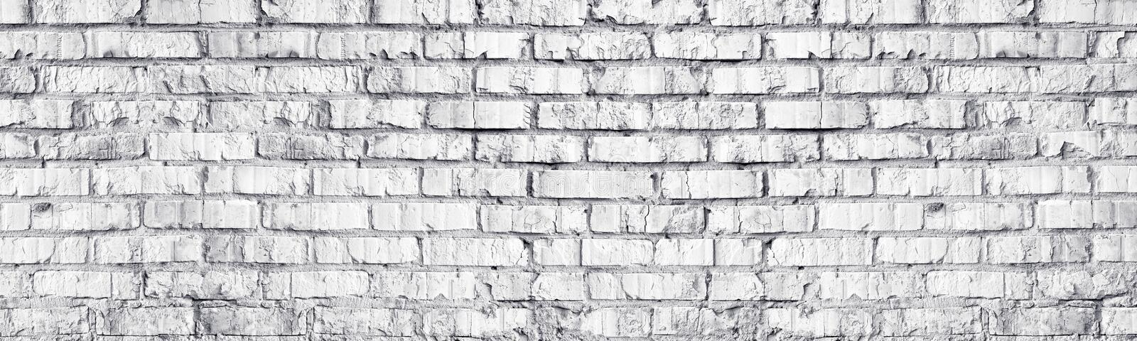 Whitewashed brick wall panoramic texture. White old brickwork long panorama. Widescreen light grey background. Whitewashed brick wall panoramic texture. White stock photos