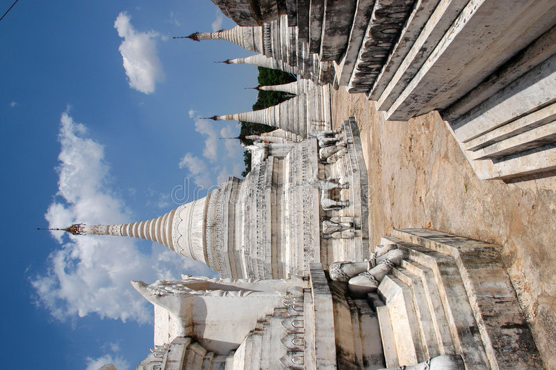 Whitewashed Buddhist temples in Burma stock image