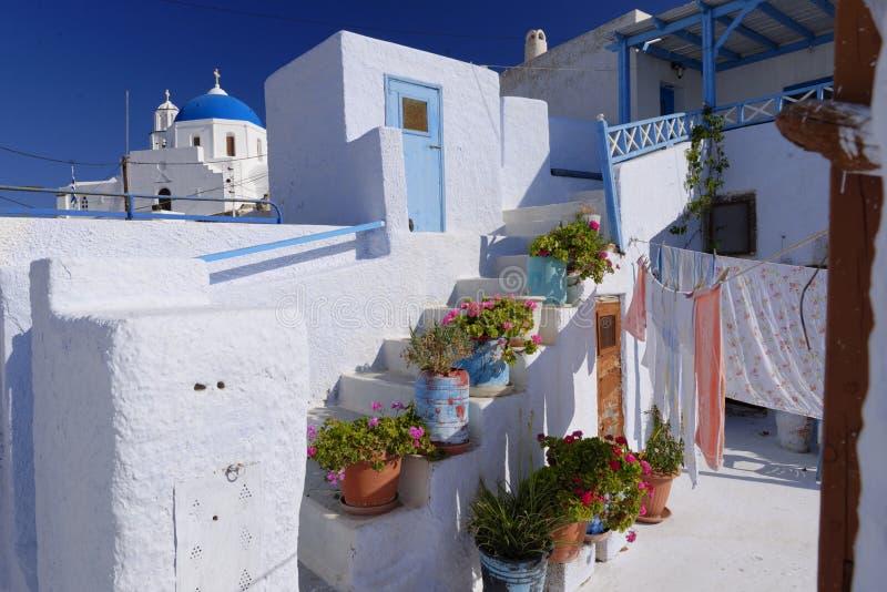 Whitewashed buildings of Santorini stock photo