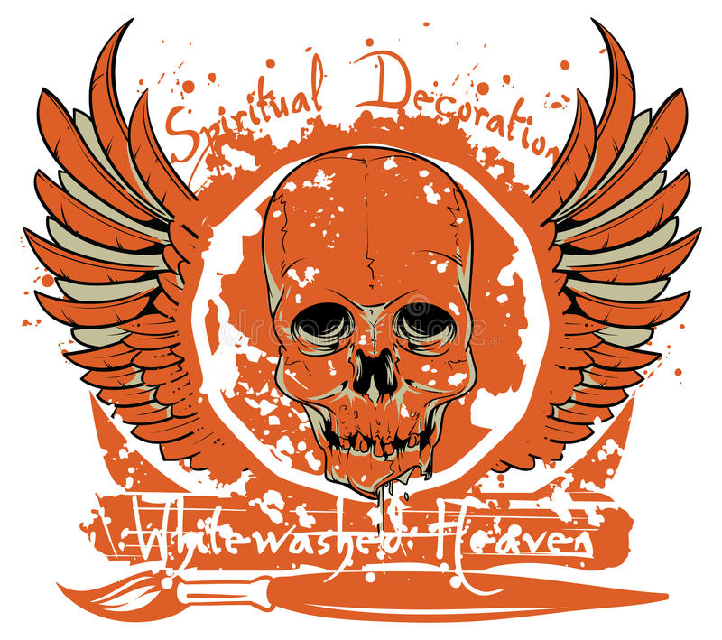 Whitewashed heaven. A skull and wings vector format vector illustration