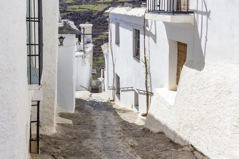 Whitewashed houses of Capileira, Andalusia stock images