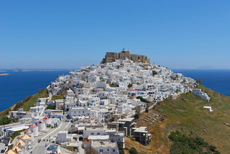Whitewashed houses at chora of Astypalaia stock image