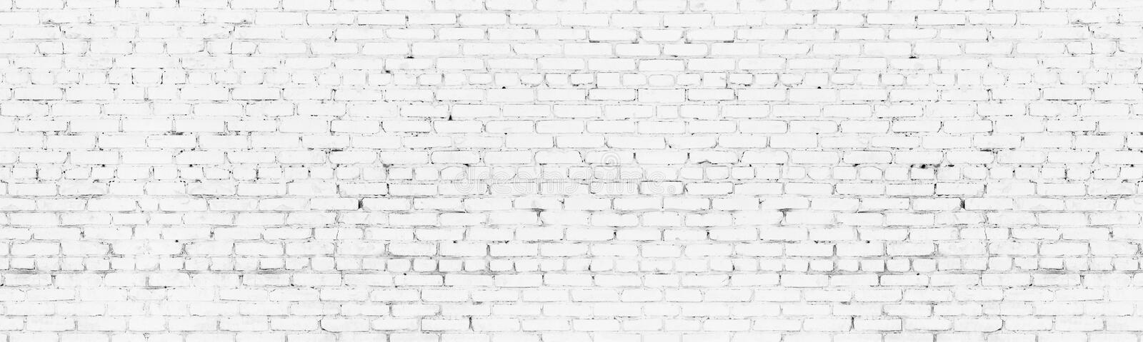 Whitewashed old brick wall wide background. White brickwork panoramic backdrop. Whitewashed old brick wall wide background. White washed brickwork panoramic royalty free illustration