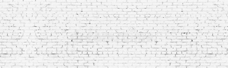 Whitewashed old brick wall wide background. White brickwork panoramic backdrop royalty free illustration