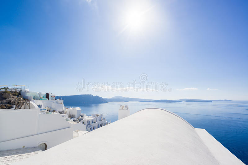 Whitewashed rooftops of Santorini. Island Greece stock photography