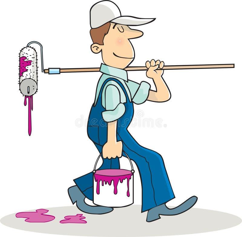 Whitewasher. A Whitewasher going to work stock illustration