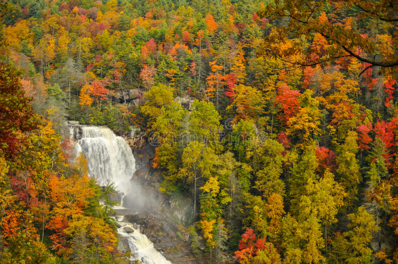 Whitewater Falls in North Carolina in Autumn royalty free stock image