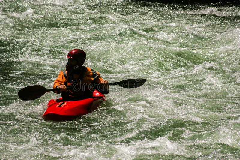 Whitewater kayaker stock image