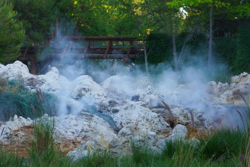 Fog Mist Water Spray about River Rapids. Whitewater rapids mist rises above the river rock royalty free stock photos