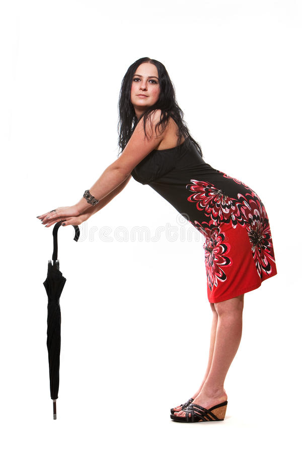 Whith da mulher um guarda-chuva fotos de stock royalty free