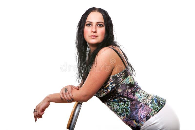 Whith da mulher um guarda-chuva imagem de stock