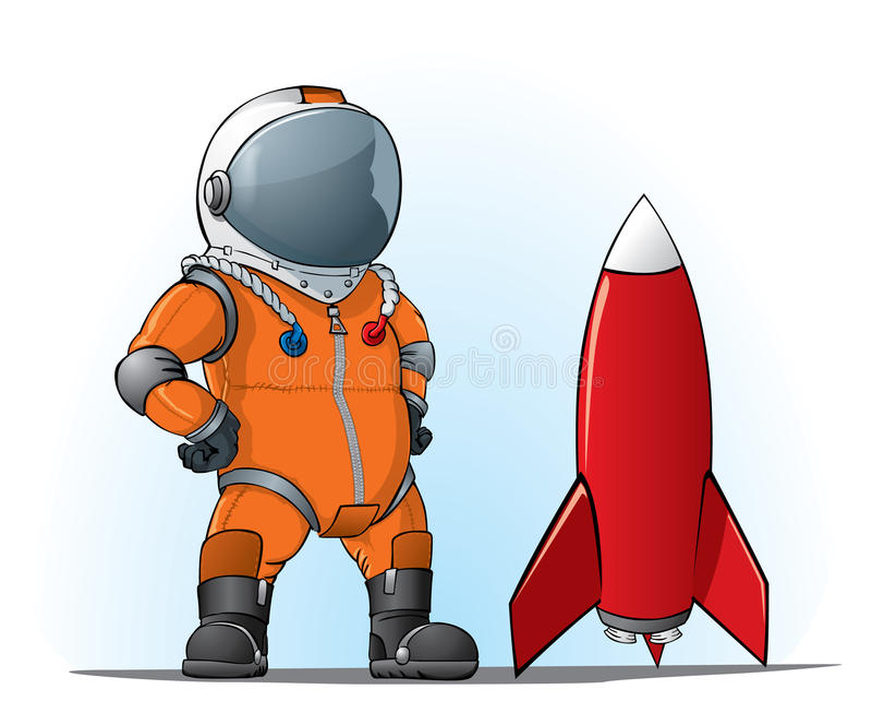 Whith do astronauta um foguete ilustração royalty free