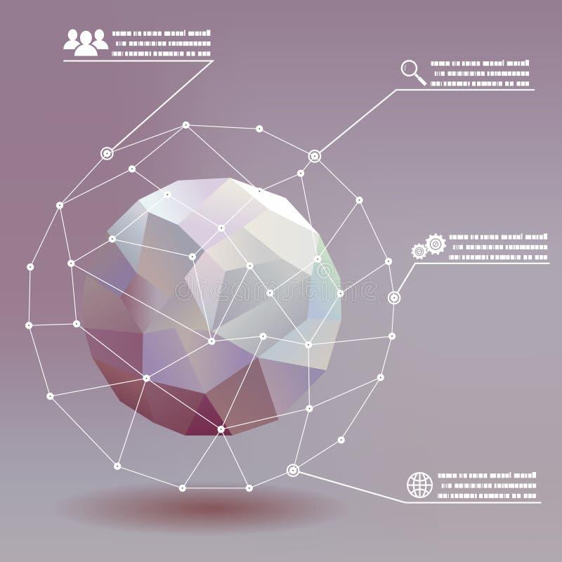 Whith social del infographics de las redes de la bola geométrica ilustración del vector
