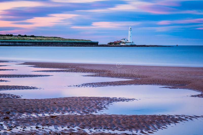 Long Exposure at Whitley Bay Beach. Whitley Bay Beach stretches from the Town north towards St Mary`s Lighthouse stock images